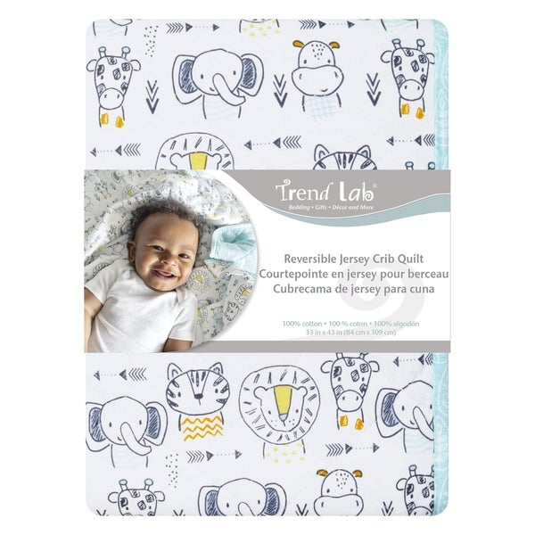 Safari Yearbook Reversible Jersey Crib Quilt. Opens flyout.