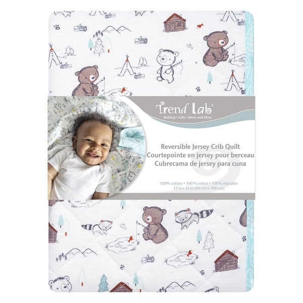 Fishing Bears Reversible Jersey Crib Quilt. Opens flyout.