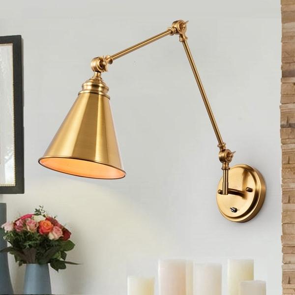 Copper Grove Esmerelda 1-light Brass Adjustable Wall Lamp Sconce