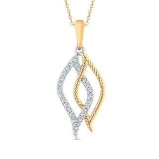 10K Two Tone Gold 1 5ct TDW Diamond Double Leaf Pendant I J I1