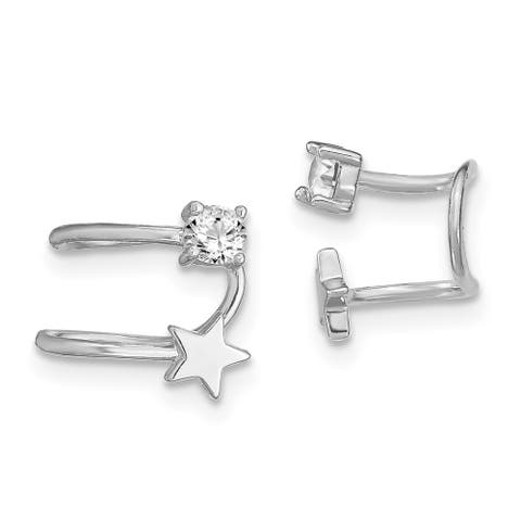 Sterling Silver Rhodium-plated CZ And Star Cuff Earrings by Versil