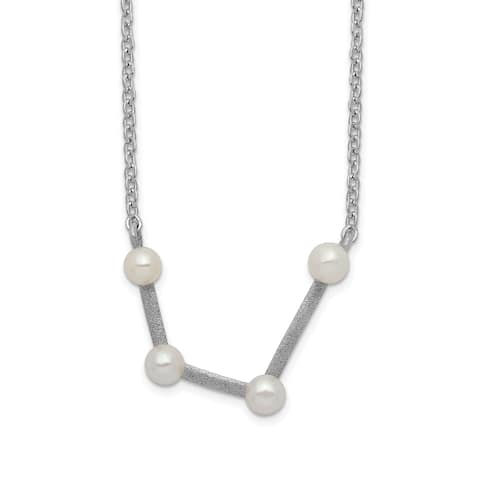 Sterling Silver Rhodium-plated 4 3-4mm Freshwater Cultured Pearl Aquarius with 1-inch Extension Necklace by Versil