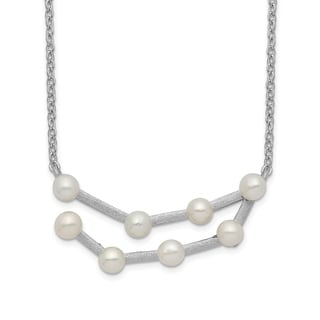 Versil Sterling Silver Rhodium Plated 8 3 4mm Freshwater Cultured Pearl Capricorn With 1 Inch Extension Necklace
