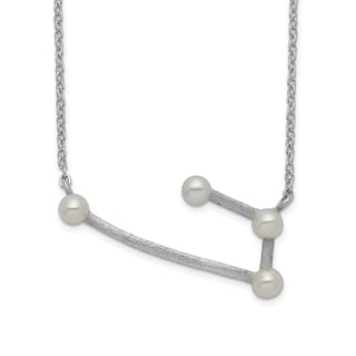 Versil Sterling Silver Rhodium Plated 4 3 4mm Freshwater Cultured Pearl Aries With 1 Inch Extension Necklace