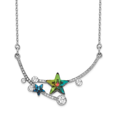 Sterling Silver Rhodium-plated Multi-color Crystal Star with 2-inch Extension Necklace by Versil