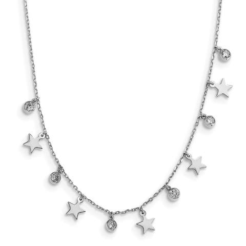 Sterling Silver Rhodium-plated CZ Star with 2-inch Extension Choker Necklace by Versil