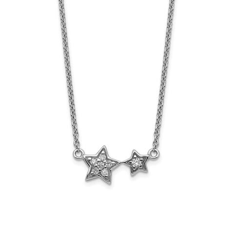 Sterling Silver Rhodium-plated CZ Star Necklace by Versil