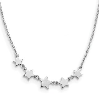 Versil Sterling Silver Rhodium Plated Stars With 2 Inch Extension Necklace