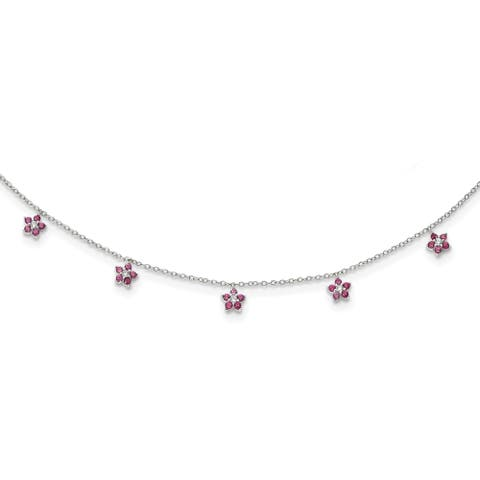 Sterling Silver Rhodium-plated Clear and Red CZ with 2-inch Extension Choker Necklace by Versil