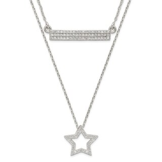Versil Sterling Silver Polished CZ Star And Bar 2 Strand 16 Inch Necklace