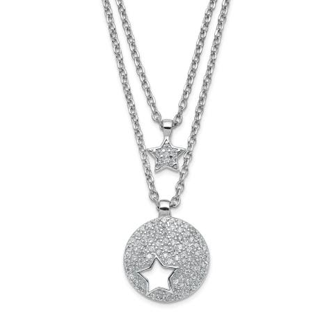 Sterling Silver Rhodium-plated Double Strand CZ Star with 2-inch Extension Necklace by Versil