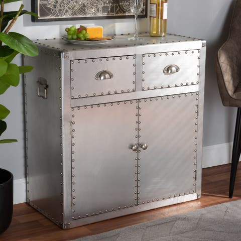 Carbon Loft Rameses French Industrial Silver Metal 2-door Accent Storage Cabinet
