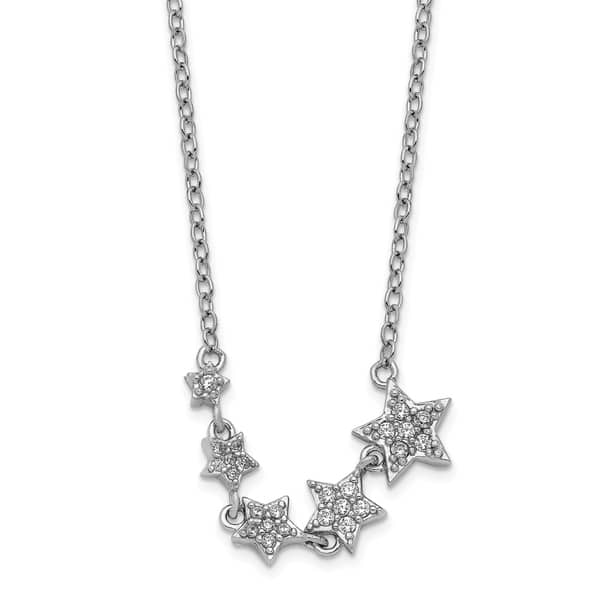 16 inches with 2 inch extension Rhodium plated sterling silver Y necklace
