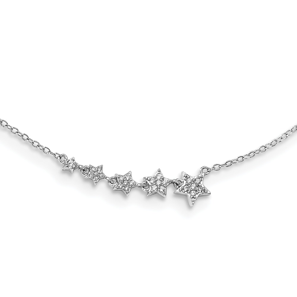 Sterling Silver Rhodium-plated Graduating CZ Stars with 2-inch Extension Necklace by Versil (White - White - 16 Inch)