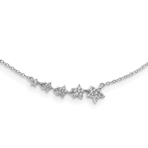 Sterling Silver Rhodium-plated Graduating CZ Stars with 2-inch Extension Necklace by Versil
