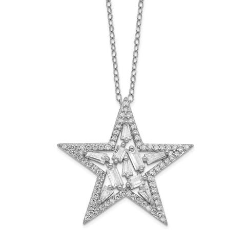 Sterling Silver Rhodium-plated CZ Cluster Star 18-inch Necklace by Versil