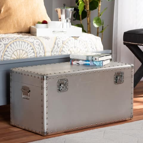 Carbon Loft Rameses French Industrial Silver Metal Storage Trunk