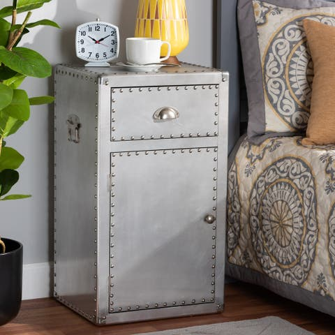 Carbon Loft Rameses French Industrial Silver Metal 1-door Accent Storage Cabinet
