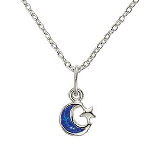 Versil Sterling Silver Enameled Blue Moon And Star Charm With 18 Inch Chain