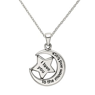 Versil Sterling Silver LOVE YOU TO THE MOON Antiqued Star And Moon Pendant With 18 Inch Chain