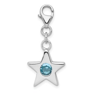 Versil Sterling Silver Rhodium Plated March CZ Birthstone Star Charm With 18 Inch Chain