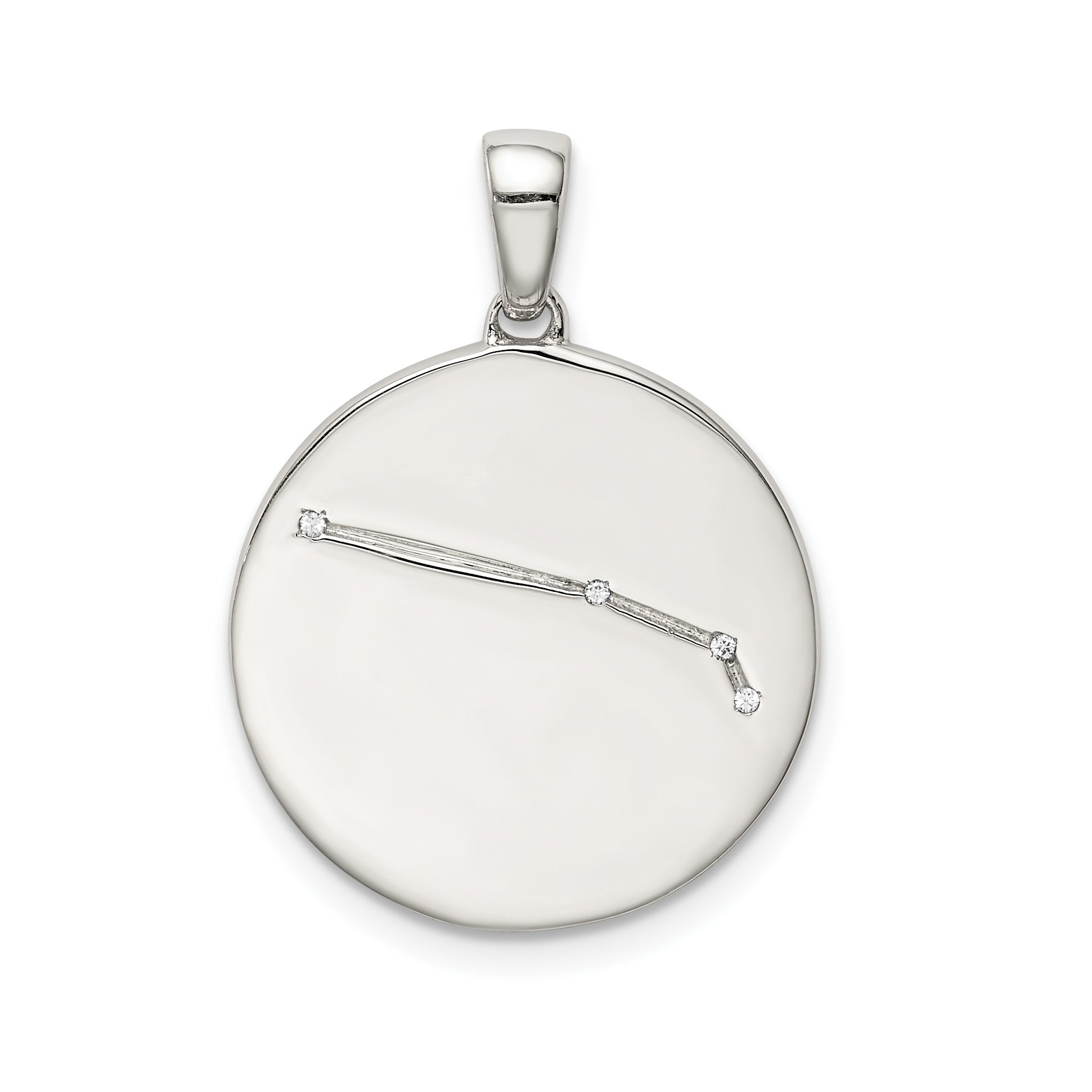 Sterling Silver and Cubic Zirconia Aries Zodiac Pendant