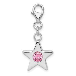 Versil Sterling Silver Rhodium Plated October CZ Birthstone Star Charm With 18 Inch Chain