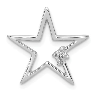 Versil 14 Karat White Gold 01ct Diamond Star Chain Slide Pendant With 18 Inch Chain
