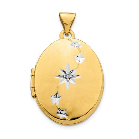 14 Karat Yellow Gold and White Rhodium Brushed/Polished Diamond Stars Oval Locket with 18-inch Chain by Versil
