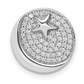 Versil 14 Karat White Gold Diamond Star And Crescent Chain Slide Pendant With 18 Inch Chain