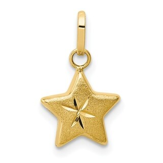 Versil 14 Karat Yellow Gold Reversible Diamond Cut And Satin Puffed Star Charm With 18 Inch Chain