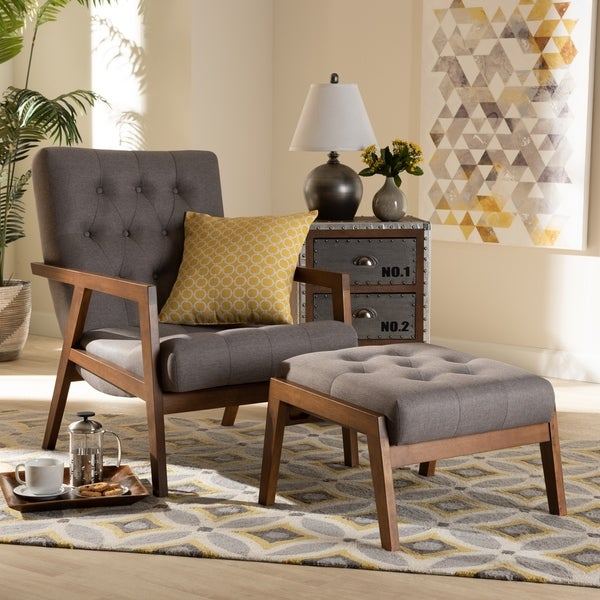 Carson Carrington Baberg Upholstered Armchair and Footstool Set