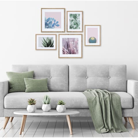 Kate and Laurel Modern Cactus Framed Wall Art Set - Natural