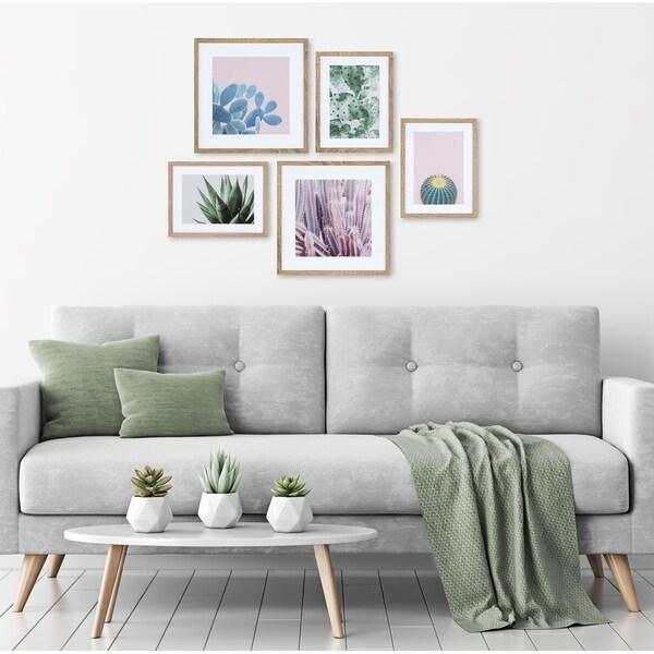 Kate and Laurel Modern Cactus Framed Wall Art Set - Natural
