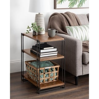 Kate and Laurel Lintz Wood and Metal Side Table - 20.2x13.25x26