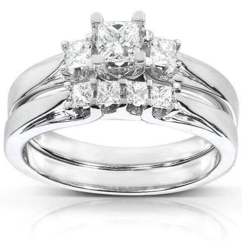 Annello by Kobelli 14k Gold 1/2ct TDW Princess-Cut Diamond 3 Stone Bridal Rings Set