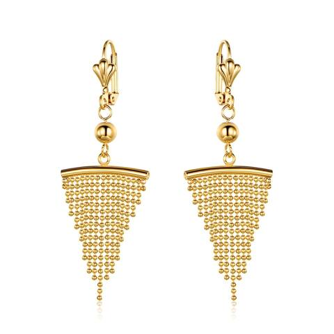 Gold Overlay Chandelier Earrings with Triangle Shaped Beaded Drop