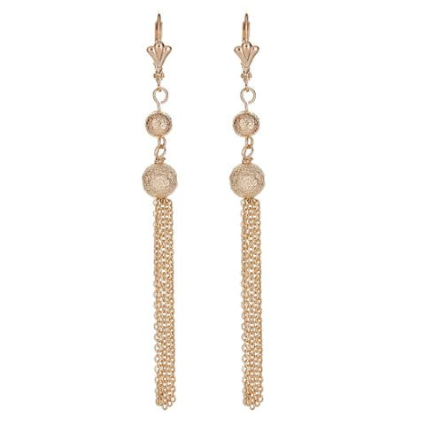 18k Gold Overlay Chain Link Drop Earrings with a Round Ball Base