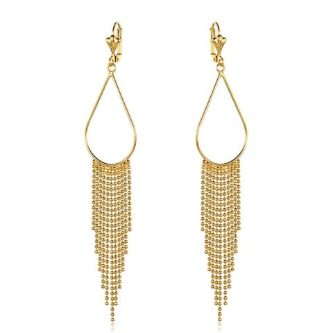 Gold Overlay Teardrop Hoop Earrings with Beaded Chandelier Drop
