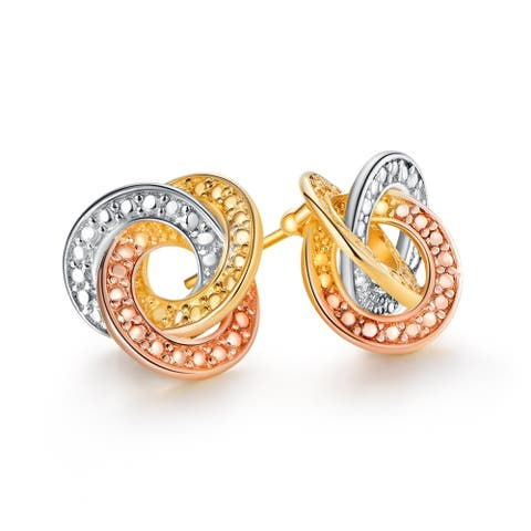 Multicolor Tied Knot Stud Earrings Plated in 18k Gold with Rocky Accents