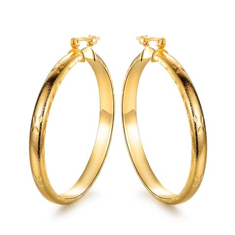 18k Gold Overlay Thin Hoop Earrings with a Rustic Feel and Cross Accents