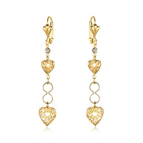 18k Gold Overlay Drop Earrings Made with a Filigree Heart Design