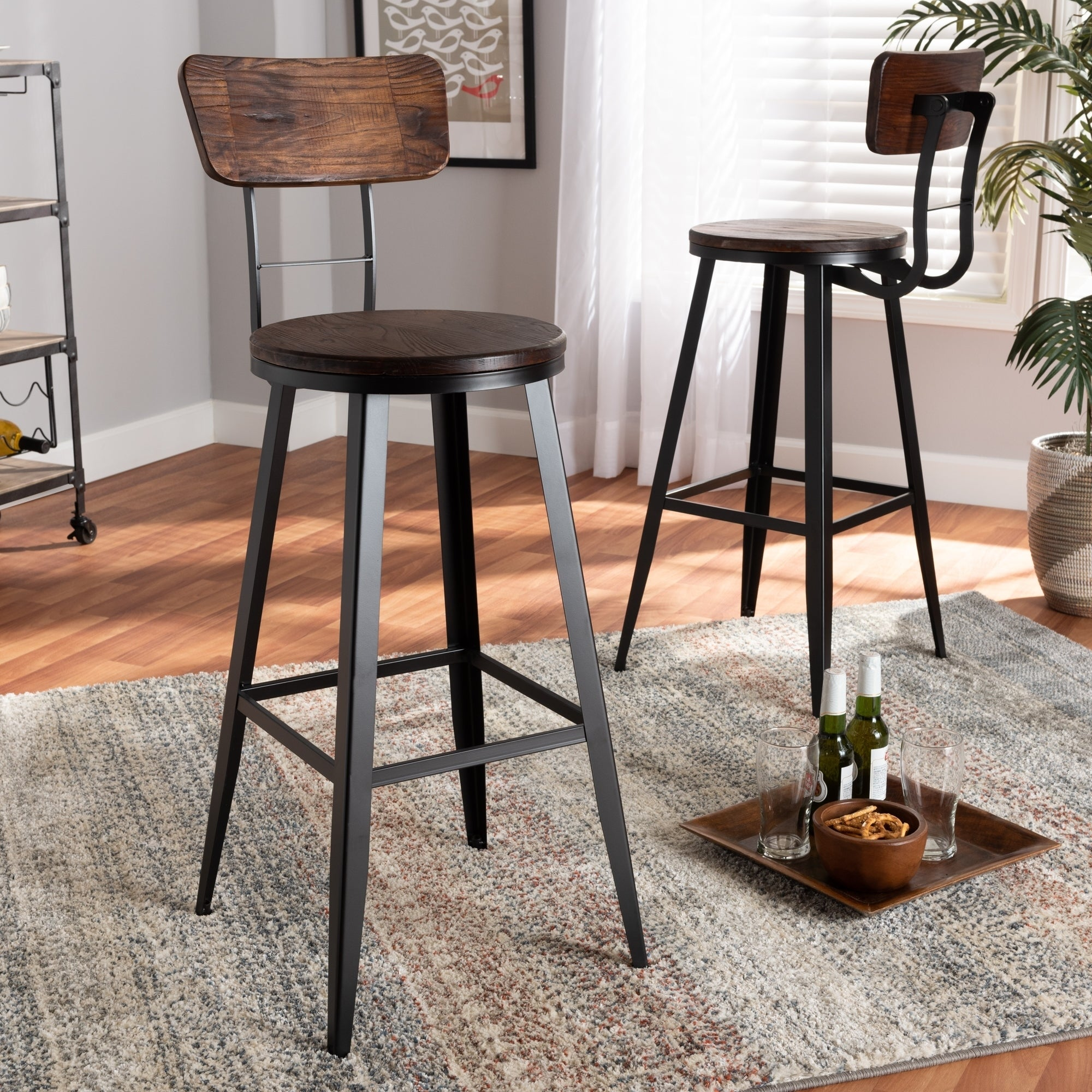 Industrial Metal Bar Stool Adjustable Wood Back Kitchen High Chair Dining Rustic