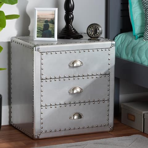 The Gray Barn Blackjack French Industrial Silver Metal 3-drawer Nightstand