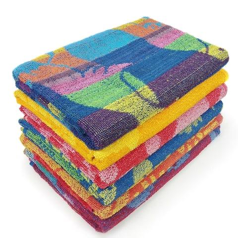 KAUFMAN- 6 Pack Beach Towel Promo Assorted Jacquard Poll Towel.30in x 60in (104700-6Pk)