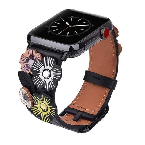 Genuine Leather Floral Rivet Band for Apple Watch Series 1, 2, 3, 4, & 5