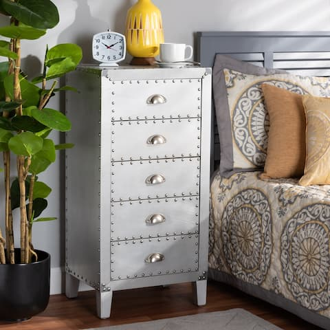 The Gray Barn Blackjack French Industrial Silver 5-drawer Cabinet - N/A