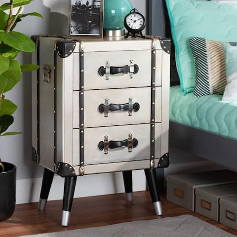 Carbon Loft Elishebe Vintage Industrial Antique Trunk 3-drawer Nightstand