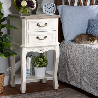 Link to Antique French Country Cottage 2-drawer Wood Nightstand Similar Items in Bedroom Furniture