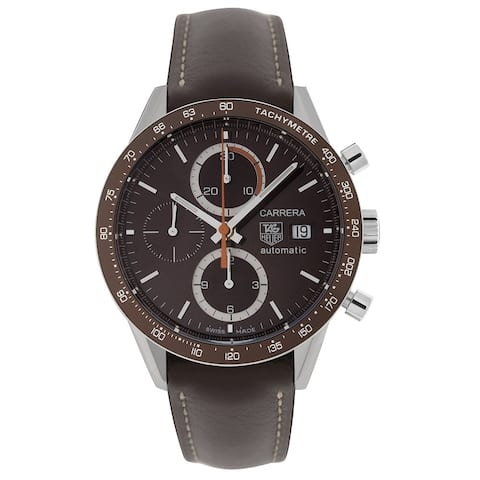 Tag Heuer Men's CV2013.FC6291 'Carrera' Chronograph Brown Leather Watch